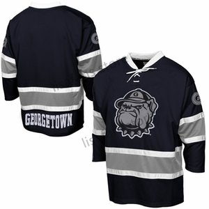 Georgetown Hoyas Stitched College Hockey Jerseys Mens Sewn All Embroidery Customized Any Name Number Sports AHL hockey Sweaters