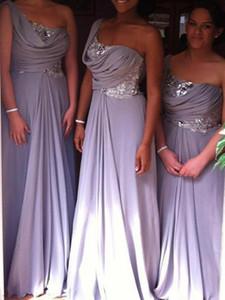 2019 новые в продаже светло-фиолетовые платья подружки невесты с новым блестками длинное шифоновое одно плечо vestidos de novia