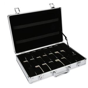 24 Affichage grille en aluminium Valise cas Boîte de rangement Boîte de rangement Voir boîtier de la montre Support Horloge