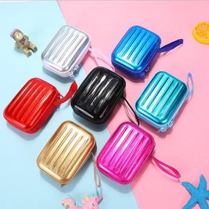 Красочные наушники Защитной Коробка для хранения монет для путешествий Портативной мини круглого кабеля данных металлического корпус контейнерных монеты Bag