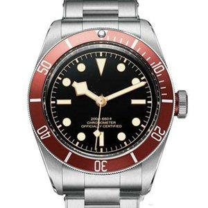 Tudorrr Mens Watch Mouvement automatique en acier inoxydable mécanique rouge Lunette Cadran Noir ROTOR MONTRES Montres Geneve solide fermoir reloj