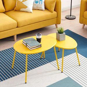 Té elíptico individual 2pcs / set Mesa de combinación de mesa redonda Arte de hierro escandinavo Simple esquina de sofá de mesa de centro pequeña y moderna
