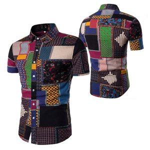Camicia da uomo Summer Beach Camicia di lino hawaiana Piante Stampa Mens Casual Maniche corte Hawaii Camicie chemise Homme Polo M-5XL 7 Stili