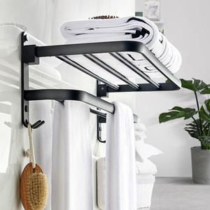 Negro mate de aluminio del espacio de Movable toalla de baño estante de 50 cm Conjunto portátil de baño / cocina para guardar Bastidores toalleros de montaje en pared Y200407