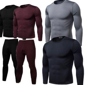Set abiti maschili Elastic Set Outfits 2 pezzi Brand New Mens inverno ultra-morbido foderato in pile termico Sopra Sotto Long Underwear di