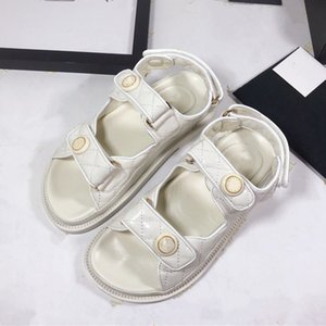 Trendy blue grid pattern magic stick shoes platform sandals white black real leather cowskin luxury designer women shoes size 35 to 40
