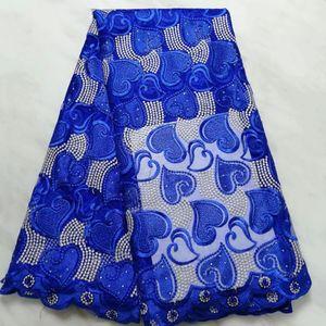 5 ярдов/ПК горячая продажа королевский синий французский чистый кружева сердце узор вышивка с камнем африканской сетки кружевной ткани для платья BN128-8