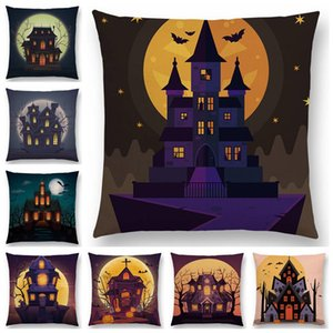 Bonne Scary Halloween Nuit hantée Vampire Castle Full Moon Bat citrouille Coussin foncé Couverture décorative Taie d'oreiller