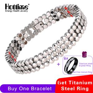 Hottime 66 Pcs Energy Stone 316l Stainless Steel Magnetic Bracelet & Bangle Silver Germanium Bracelets Fashion Men Women Jewelry Y19051101