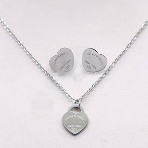 Серебро Титан нержавеющей сталь Письмо Love Heart T серьги ожерелье комплект ювелирных изделий для женщин Свадебных ювелирных изделий