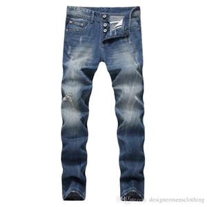 Azul claro largo y recto Hombre Jeans mediados de cintura regular lavado para hombre de la mosca de la cremallera de los pantalones vaqueros Hombre Ropa