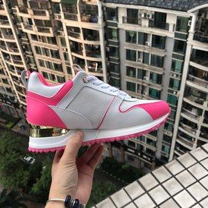 Le scarpe casuali di cuoio popolari calde delle donne degli uomini progettano le scarpe delle scarpe da tennis di cuoio di modo allacciano il colore misto della scarpa con la scatola sz 35-41 trasporto libero