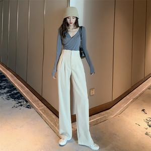 Vintage Women Pants Haren ampla perna veludo de algodão cor sólida moda primavera Casual cintura alta Calças offcie senhora