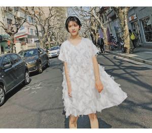 2020 novo verão penas borla vestido solto de verão feminina de férias à beira-mar moda cor sólida saia de renda selvagem