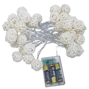 Cadena 1,5M llevó la luz rota 2,5M 5M Rattan la bola del LED hadas de la secuencia se enciende para la fiesta de la boda de Navidad Decoración Lámparas