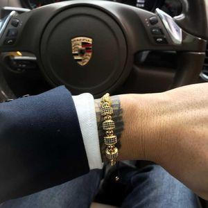 McIlroy oro inossidabile perline bracciale in acciaio degli uomini di modo di lusso gioielli artigianali della CZ zircone braccialetto del braccialetto del Maschio 2019 Homme