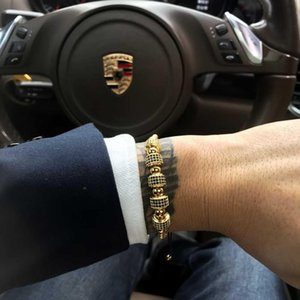 Mcllroy الذهب الفولاذ المقاوم للصدأ سوار الخرز أزياء الرجال فاخرة اليدوية تمهيد تشيكوسلوفاكيا الزركون سوار سوار ذكر مجوهرات 2019 أوم