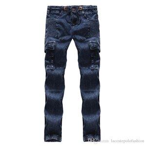 Синий с плиссе Мужские джинсы карандаш Regular Mid талии Дизайнерские мужские брюки хлопок Tether Мужской одежды