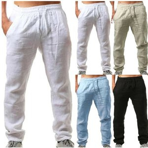 Summer Men Cotton Trousers Linho Verao Calcas Dos Homens Com Cordao Loose Pants Men Solids Harem Linen Trousers pants CX200629