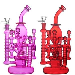 Bongs de verre unique Double recycleur Bong Hélice Spinning Perc Huile DAB Plateaux Vert violet 14mm Tuyaux d'eau avec bol en verre en gros en gros