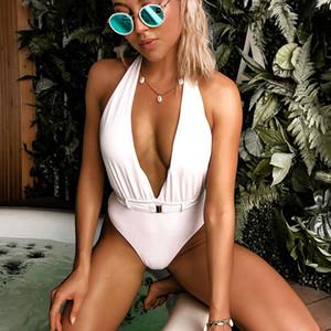 Traje de baño atractivo del `V profundo cintura alta de una pieza de baño bañador de las mujeres sin espalda halter monokini de ropa de playa