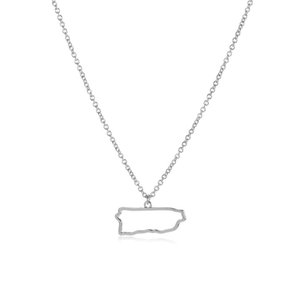 10PCS Tiny North America Caribbean Puerto Rico Map Necklace Outline Country State City Island Puerto Rican Continent Chain Necklaces