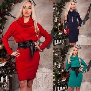 Noël Femmes Midi Robe ample Jumper à manches longues et col bénitier Pile Chunky Robe en maille Hauts Gren robe bleue rouge longueur du genou