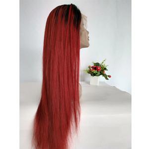 Parrucca anteriore del merletto dei capelli umani brasiliani Ombre 1B rosso 26 pollici 130% 150% 180% Densità dritto parrucca piena del merletto svizzero