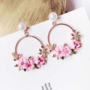 Korean Schmuck Zirkon Perle Herz Kristall Blume Keramik Perle Ohrringe Für Frauen Aussage Ohr Schmuck Großhandel