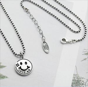 Original Design tailandesi argento 925 gioielli fatti a mano perle personalizzate concatenano gruppi di facce Love Me Eearrings collana