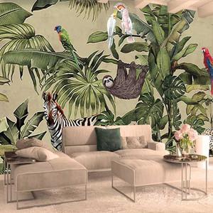 Murales de papel tapiz no tejidas envío de la foto gota encargo del papel pintado 3D Tropical Rain Forest Bird hojas de palma de TV de pared