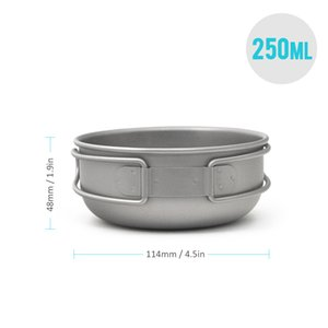New 200ml 250ml 400ml 450ml Titanium Bowl with Folding Handle Outdoor Tableware Camping Cookware for Hiking Picnic Backpacking