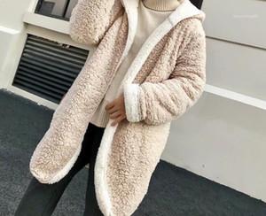 Designer Trendy Warm mit Kapuze Reversible Lange Mäntel beiläufige Frauen-Kleidung Winter Frauen Lamb Wolle-Mischungen Mode