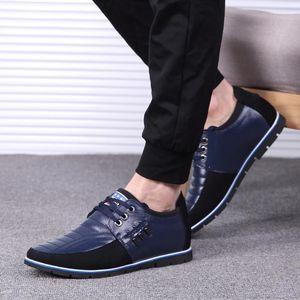 Hot Sale-Männer echte lederne Schuhe der Qualitäts-Gummiband Mode-Design Solide Tenacity Bequeme Herrenschuhe große Größen
