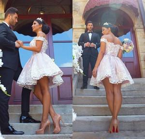 2019 Blush Pink Kurze Kleider für die Heimkehr Weiße Spitze Appliqued Off Schulter Mini Cocktailkleid Prom Party Kleider