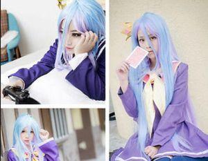 Parrucca vendita gratuita 105cm lungo colore misto No Game No Life Shiro Parrucca Cosplay per la ragazza 558B