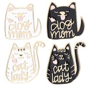 Köpek Anne Kedi Lady Karikatür Hayvan Köpek ve Kedi Iğneler Emaye pimleri Rozetleri köpek kedi kitty sevgilisi için Broşlar Sevimli Hayvan takı