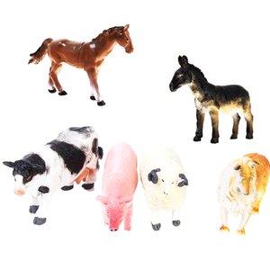 Juguetes para niños de 6 PC Animal Farm modelo establecido, Perro Vaca Cerdo Oveja Caballo burro