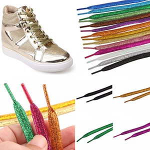 1 Pair Colorful Shoelaces of sneakers Metallic Glitter Shiny man women gold shoelace silver Flat shoe laces running shoe lacing