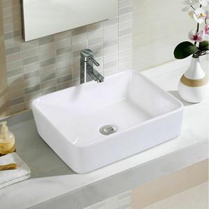 Ванная комната Прямоугольник Керамический Раковина Тщеславие Pop Up Drain Современного Искусства Таз Новый