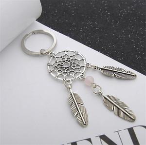 Mode Geschenk Rosa Schwarz Perlen Dreamcatcher Federwindspiele Dream Catcher Schlüsselanhänger Frauen Vintage Indischen Stil Keychain Schlüsselanhänger