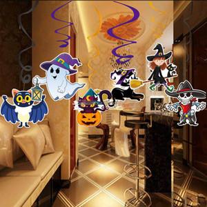6 pçs / set Dos Desenhos Animados Decorações Do Dia Das Bruxas Pingente de PVC Halloween Spiral Pendant Halloween Party Casa Assombrada Pendurado Guirlanda Pingente de Abóboras