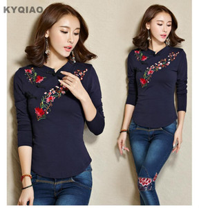 KYQIAO Günstige-Kleidung-china camisas femininas ethnischen Hippie Mandarinekragen lange Ärmel dunkelblau weiß grün schwarz gelb Bluse