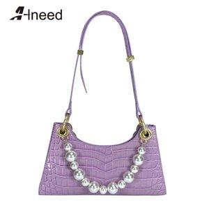 ALNEED Handbags Women Bags 2020 Genuine Leather Top Handle Bag party Purse Clutch Ladies Shoulder Baguette Bag