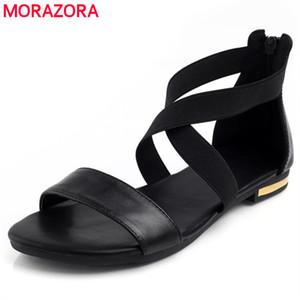 MORAZORA 2019 couro genuíno Sandálias Mulheres Hot Sale da Moda Verão Doce Mulheres Flats sandálias salto Senhoras sapatos Preto