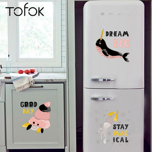 Tofok Belle Undersea animal DIY Wall Sticker Accueil Cuisine Réfrigérateur Cartoon Décoration Sticker Autocollants murales Cabinet Chambre