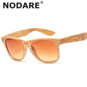 NODARE 2020 Vintage Classic Sunglasses Mulheres Imitação Madeira Óculos de bambu Grain viagem Feminino Outdoor