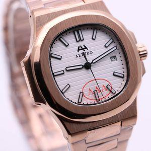 AEHIBO automático completo Ouro 42MM Branco Dial Sapphire Oval moldura de ouro Calendário Mens Relógios de pulso transparente esqueleto volta Assista Homens Relógios
