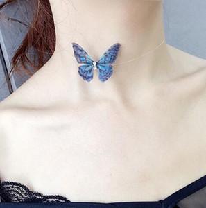 2018 Nuevo Elegante Cristal Colorido Collar de Gargantillas de Mariposa 3D Línea de Pescado Invisible Collares de Seda Para Mujeres Regalo