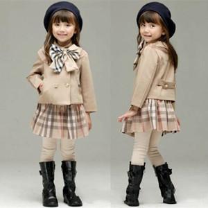 2 costumes bébé fille hiver tenues pcs costume sport à carreaux coréenne ensembles de jeu de vêtements pour enfants fixe les enfants pour nourrissons Survêtements vêtements